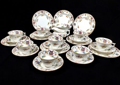 Antique Royal Worcester China Pekin Pattern Tea Set for 8 People / Edwardian